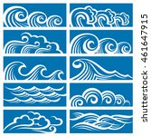 collection of sea waves icons | Shutterstock .eps vector #461647915