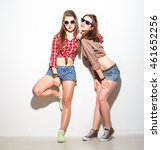 stylish hipster girls in the