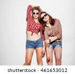 stylish hipster girls in the... | Shutterstock . vector #461653012