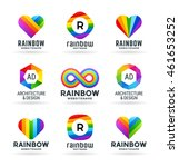 set of abstract rainbow symbols ... | Shutterstock .eps vector #461653252