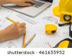 hand over construction plans... | Shutterstock . vector #461655952