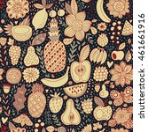 fruit doodles seamless vector...   Shutterstock .eps vector #461661916