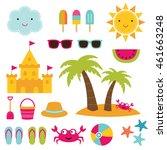 summer beach vector elements set | Shutterstock .eps vector #461663248