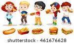 boys and girls eating fastfood... | Shutterstock .eps vector #461676628