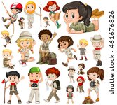 boys and girls in safari outfit ... | Shutterstock .eps vector #461676826