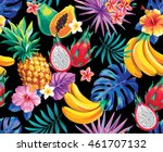 seamless pattern with tropical... | Shutterstock .eps vector #461707132
