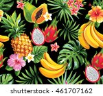 seamless pattern with tropical... | Shutterstock .eps vector #461707162