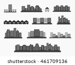 architecture icons silhouettes... | Shutterstock .eps vector #461709136