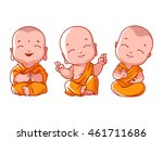 Set Of Little Meditating Monks...