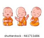 Set Of Little Meditating Monks...
