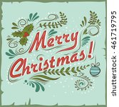 merry christmas. vintage... | Shutterstock . vector #461719795