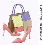 fashion women's handbag and...   Shutterstock .eps vector #461722246