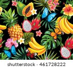 seamless pattern with tropical... | Shutterstock .eps vector #461728222