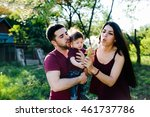 young family on the nature in...   Shutterstock . vector #461737786