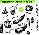 hand drawn ink sketch of garden ... | Shutterstock .eps vector #461742922