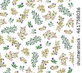 watercolor twigs and herbs.... | Shutterstock . vector #461758036