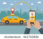 taxi service. yellow taxi cab.... | Shutterstock .eps vector #461762836