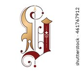 gothic initial v with bronze... | Shutterstock .eps vector #461767912