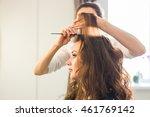 hairdresser doing hair style... | Shutterstock . vector #461769142