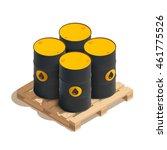 isometric oil barrels on wooden ... | Shutterstock .eps vector #461775526