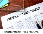 paper with weekly time sheet on ... | Shutterstock . vector #461780296