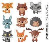 vector set of cute forest... | Shutterstock .eps vector #461782912