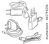 vector set of sketch chargers... | Shutterstock .eps vector #461793256