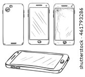 vector set of sketch smartphones | Shutterstock .eps vector #461793286