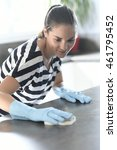 cleaning lady washing kitchen... | Shutterstock . vector #461795452