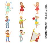 kids singing and playing music... | Shutterstock .eps vector #461812606