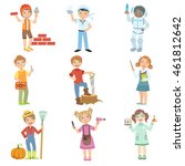 kids and their dream jobs | Shutterstock .eps vector #461812642