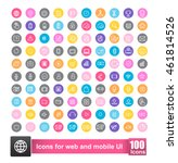 set of 100 icon with background ... | Shutterstock .eps vector #461814526