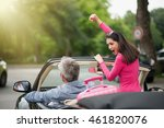 a cheerful couple going on a... | Shutterstock . vector #461820076
