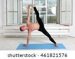 sporty man practicing yoga.