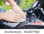 hand with man cleaning... | Shutterstock . vector #461827582