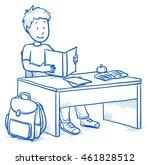 cute little boy sitting at... | Shutterstock .eps vector #461828512