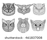 Owl Heads Set. Black White Han...