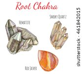 root  bace  chakra stones set.... | Shutterstock . vector #461842015