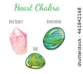heart chakra stones set. close... | Shutterstock . vector #461842168