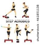 fitness vector set. silhouette... | Shutterstock .eps vector #461851138
