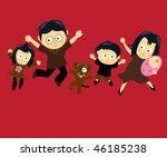 family jumping 4  asian  | Shutterstock .eps vector #46185238