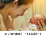 mother giving birth to a baby.... | Shutterstock . vector #461865946