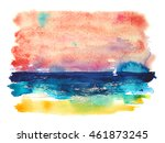 Watercolor Sunset Sea View ...