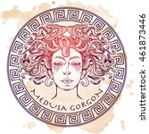 medusa gorgon sketch on a... | Shutterstock .eps vector #461873446