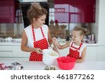 mom with her 5 years old... | Shutterstock . vector #461877262