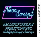 neon tube alphabet font. hand... | Shutterstock .eps vector #461889856