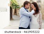 curly brunette smiles broad...   Shutterstock . vector #461905222