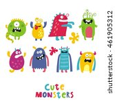 cute monster print | Shutterstock .eps vector #461905312