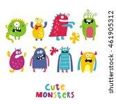 cute monster print | Shutterstock .eps vector #461905312