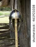 Stock photo an reproduction th century anglo saxon helmet with chainmail neck guard 461921038